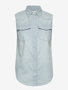 SLEEVELESS SHIRT - jeansblouses - sterling blue