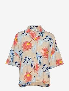 FLORAL RESORT SHIRT - kortermede skjorter - ecru