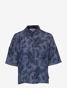 FLORAL RESORT SHIRT - kortermede skjorter - washed blue