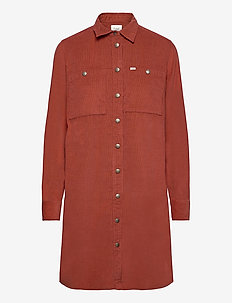 WORKSHIRT DRESS - shirt dresses - red ochre