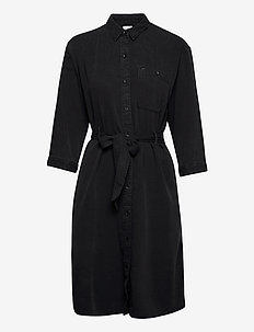 LONG DENIM DRESS - skjortklänningar - black