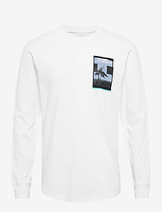 LS GRAPHIC CREW - logo t-shirts - bright white