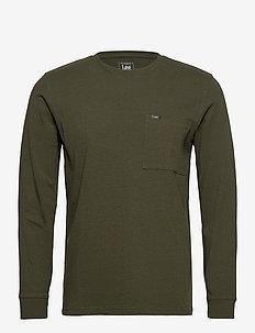 LS POCKET TEE - basic t-shirts - serpico green