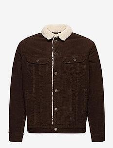 SHERPA JACKET - denim jackets - winter brown