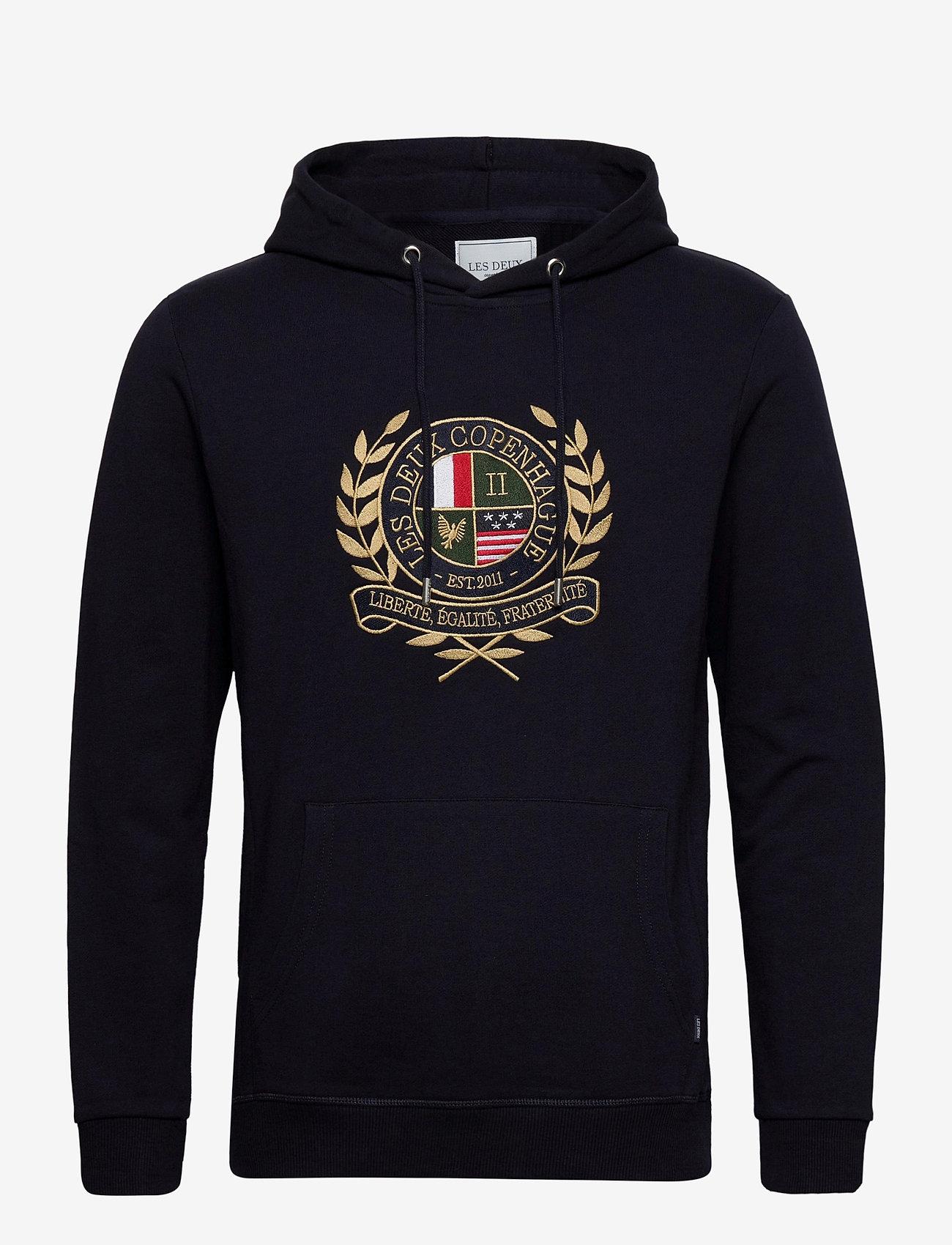 Les Deux - Egalité Hoodie - hoodies - dark navy with multicolor artwork - 0