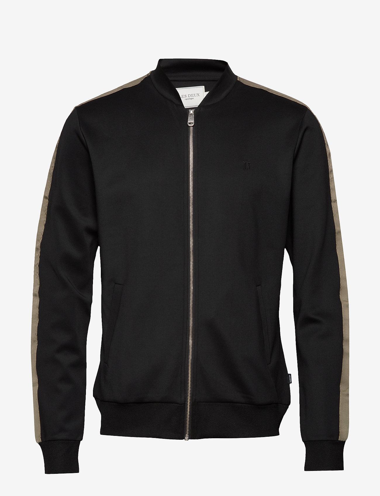 Les Deux - Hermité Track Jacket - podstawowe bluzy - black/dk. olive green - 0