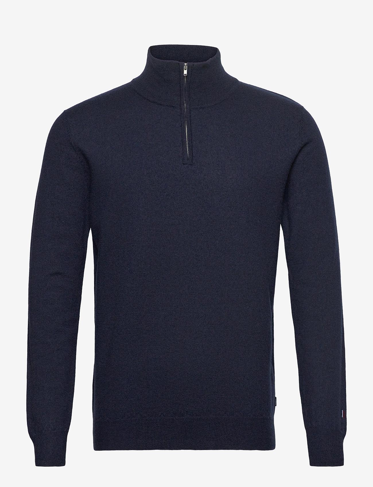 Les Deux - Edgar Half Zip Wool Knit - half zip - dark navy - 0