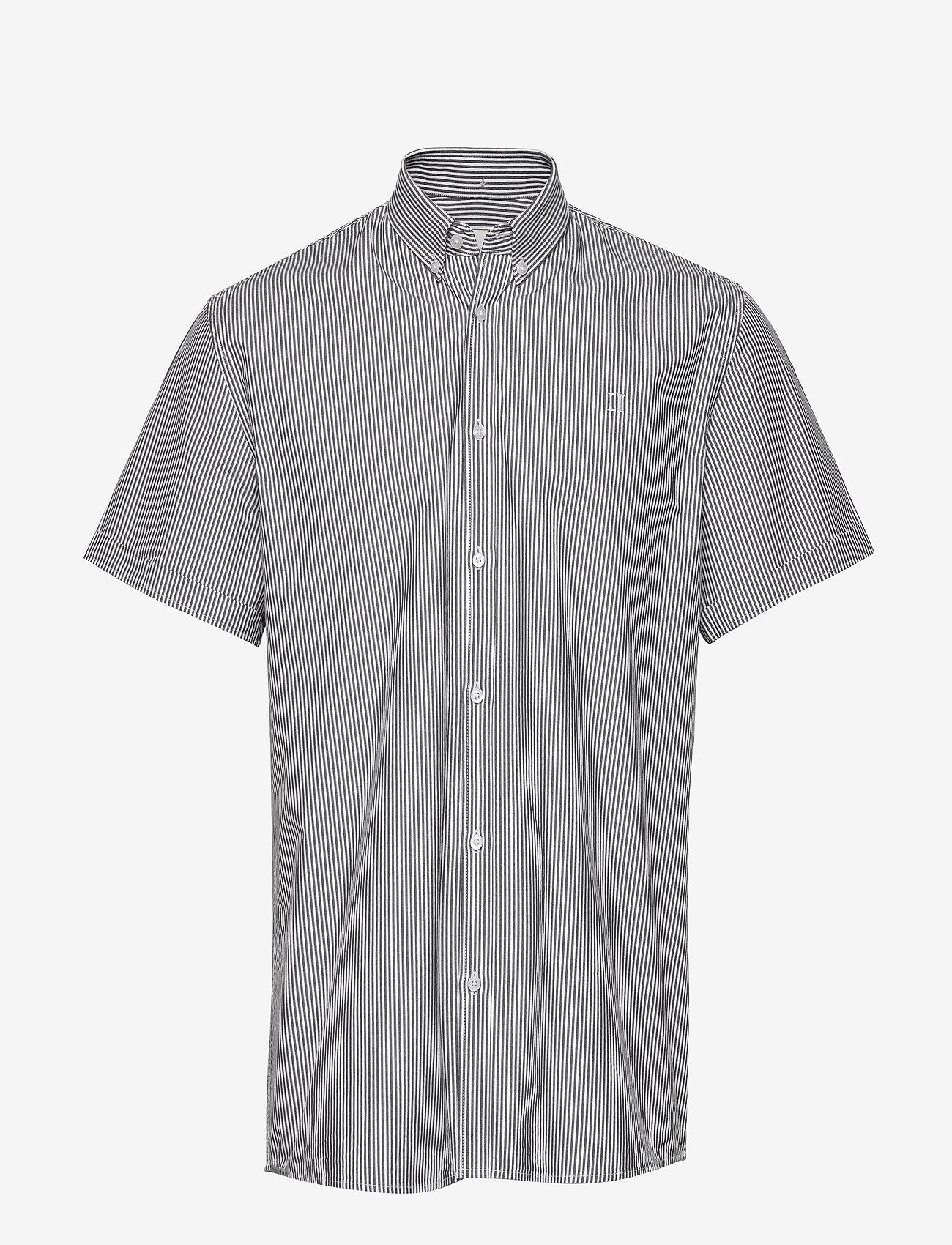 Les Deux - Lyon Seersucker SS Shirt - peruspaitoja - white/navy stripe