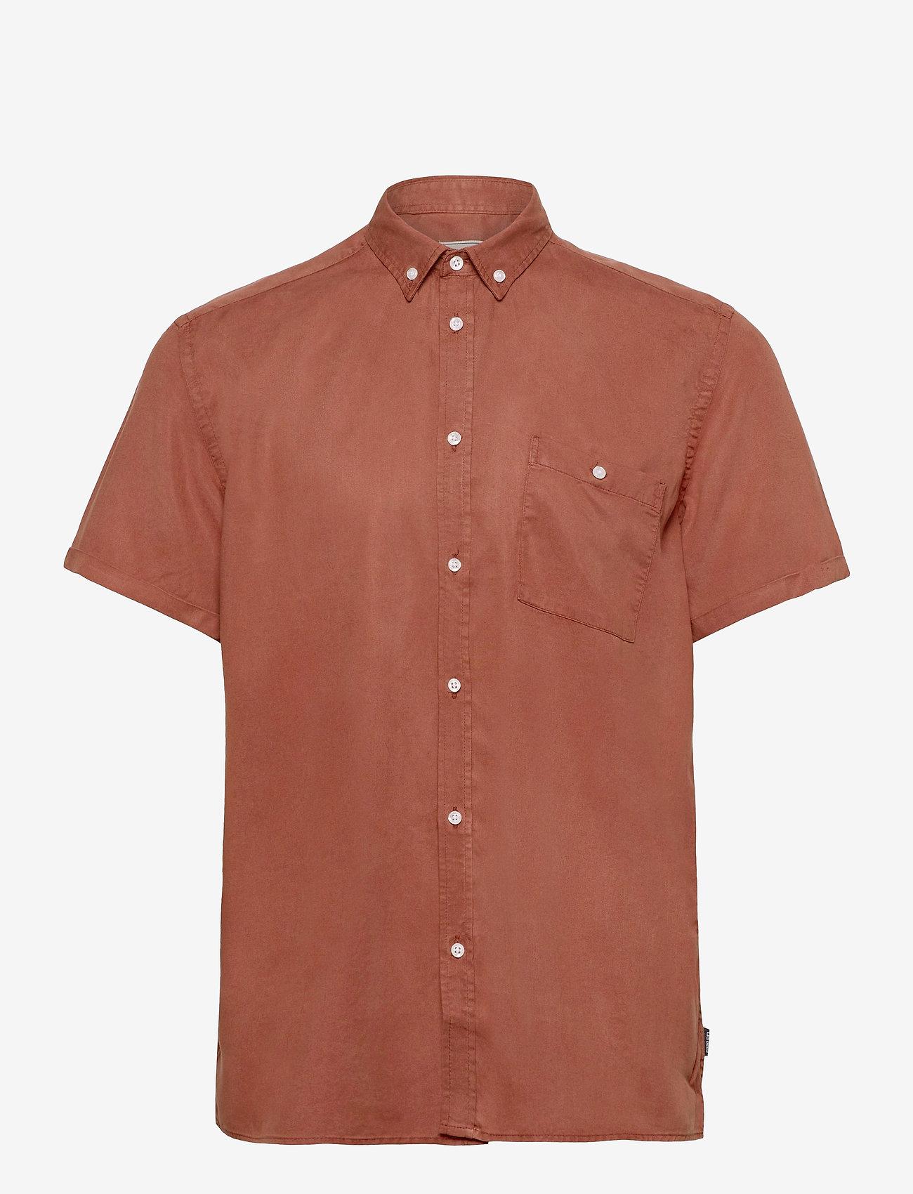 Les Deux - Leonardo Tencel Twill SS Shirt - chemises à carreaux - rust red - 0