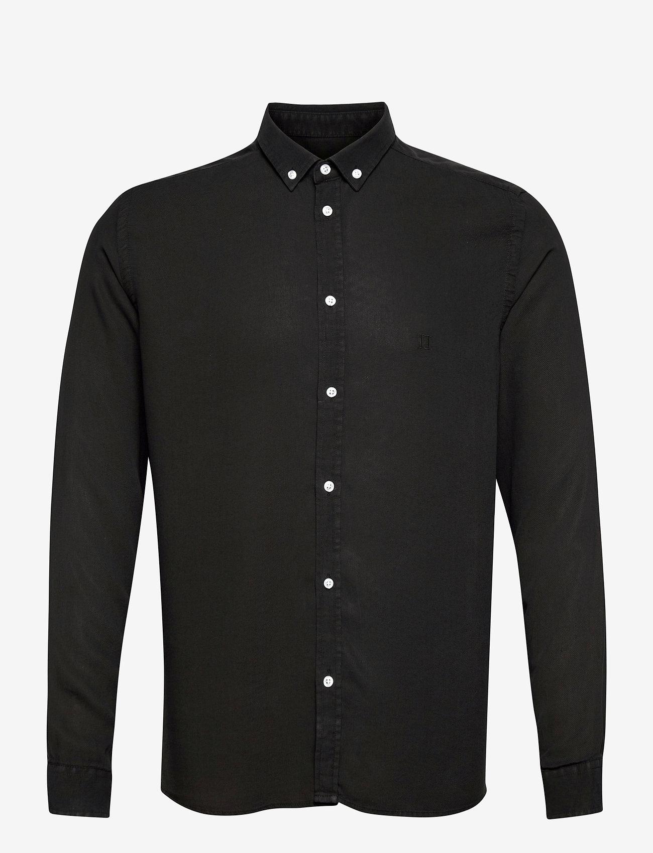 Les Deux - Laurent Tencel Dobby Shirt - chemises à carreaux - black - 0