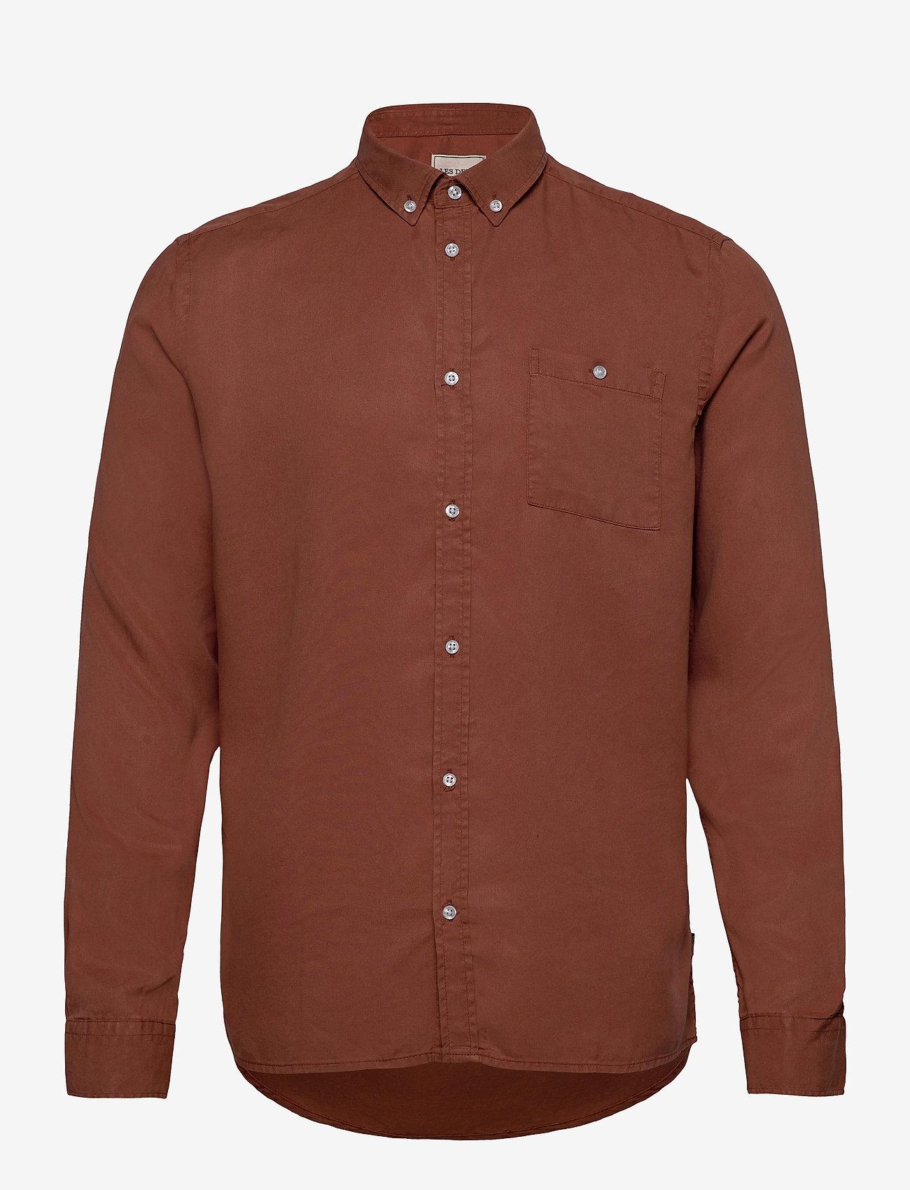 Les Deux - Laurent Tencel Twill Shirt - chemises à carreaux - rust red - 0