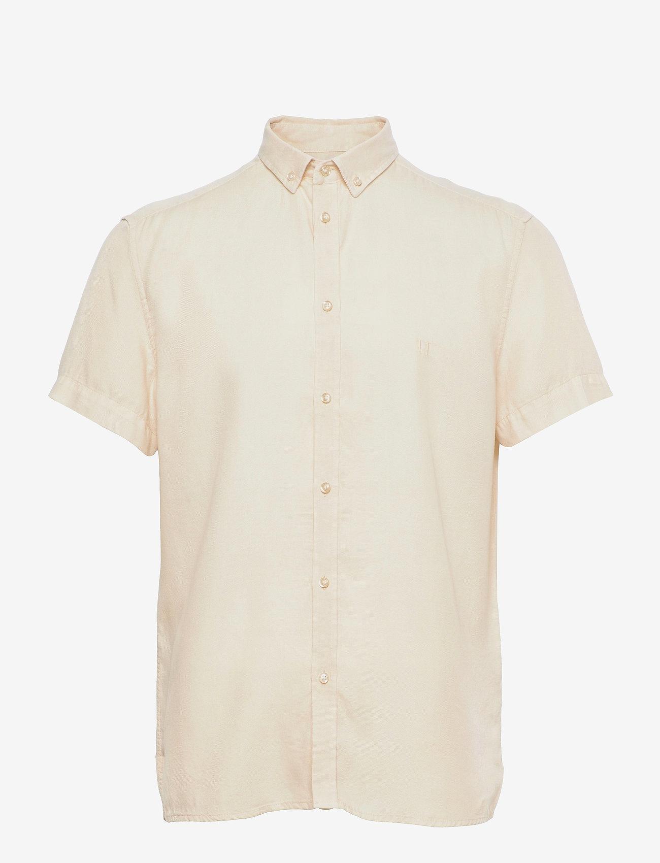 Les Deux - Harvey Tencel Dobby SS Shirt - geruite overhemden - ivory - 0
