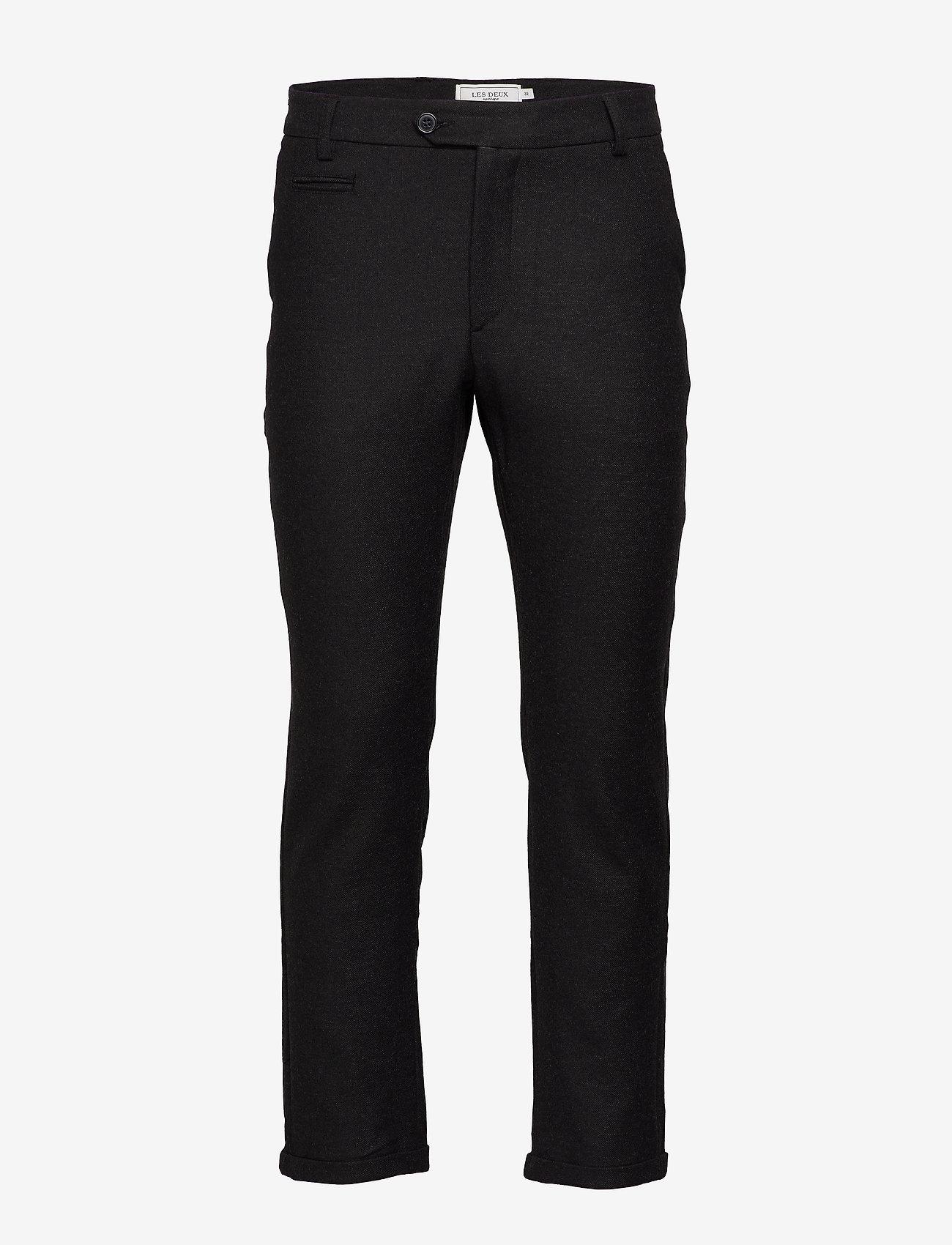 Les Deux - Como Wool Pants - puvunhousut - charcoal melange