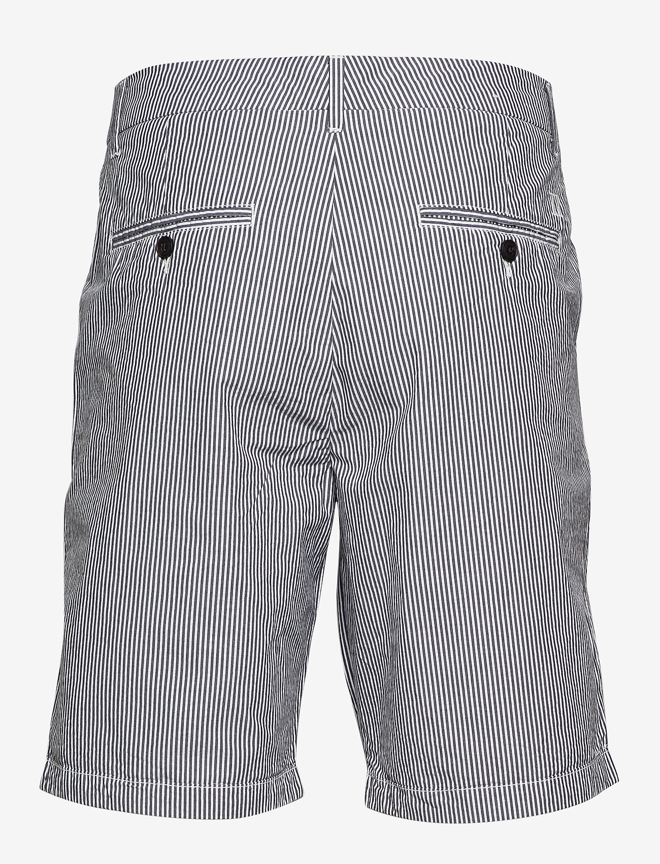 Les Deux - Lyon Seersucker Shorts - chinos shorts - white/navy stripe