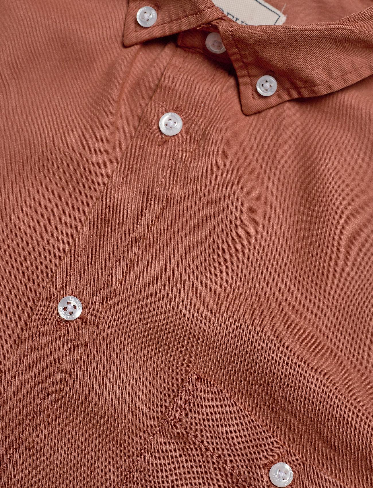Les Deux - Leonardo Tencel Twill SS Shirt - chemises à carreaux - rust red - 3