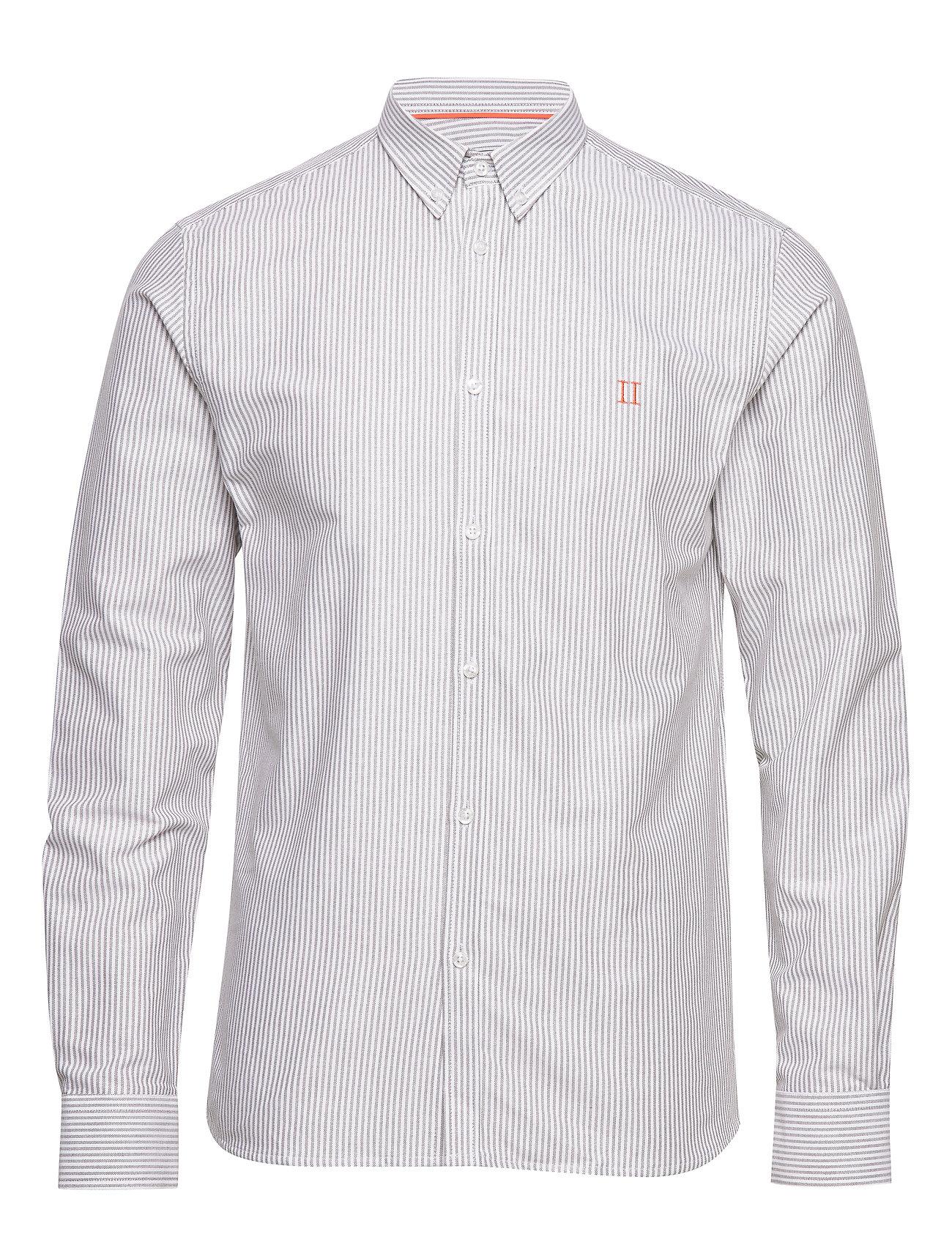 Les Deux Oliver Oxford Shirt - 5892-DARK OLIVE STRIPE