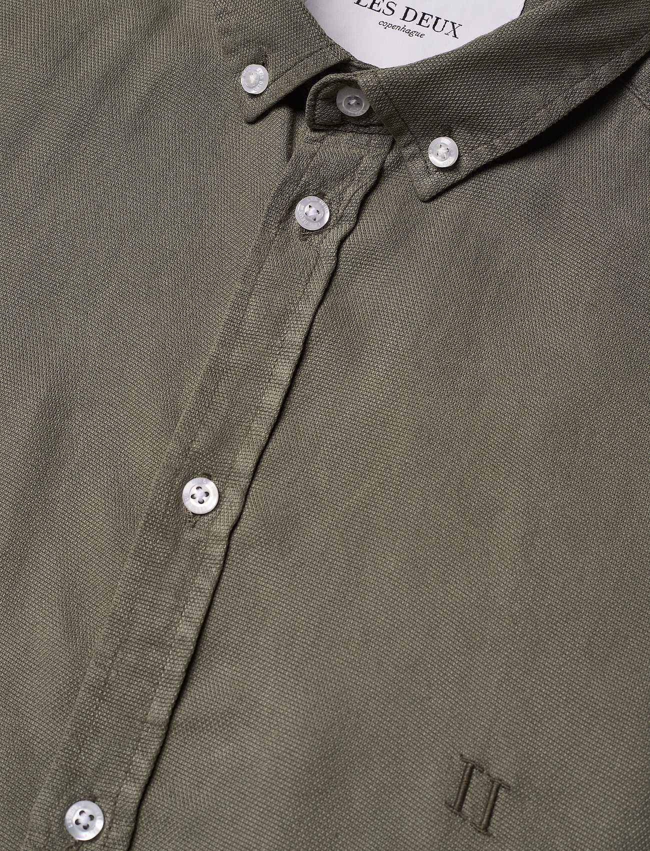 Les Deux - Harvey Tencel Dobby SS Shirt - chemises de lin - lichen green - 3