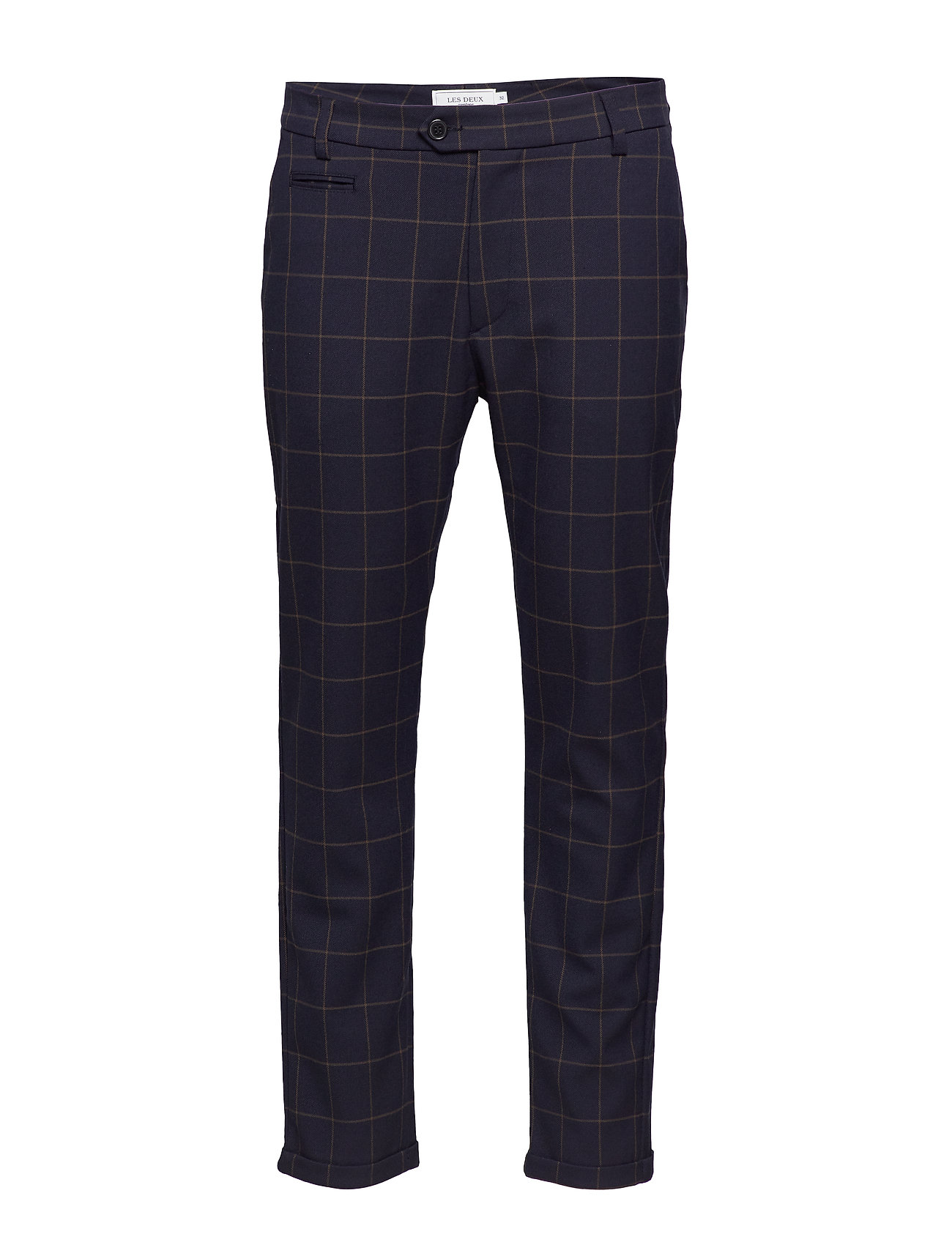Les Deux Como Check Suit Pants - 4687-DARK NAVY/BROWN