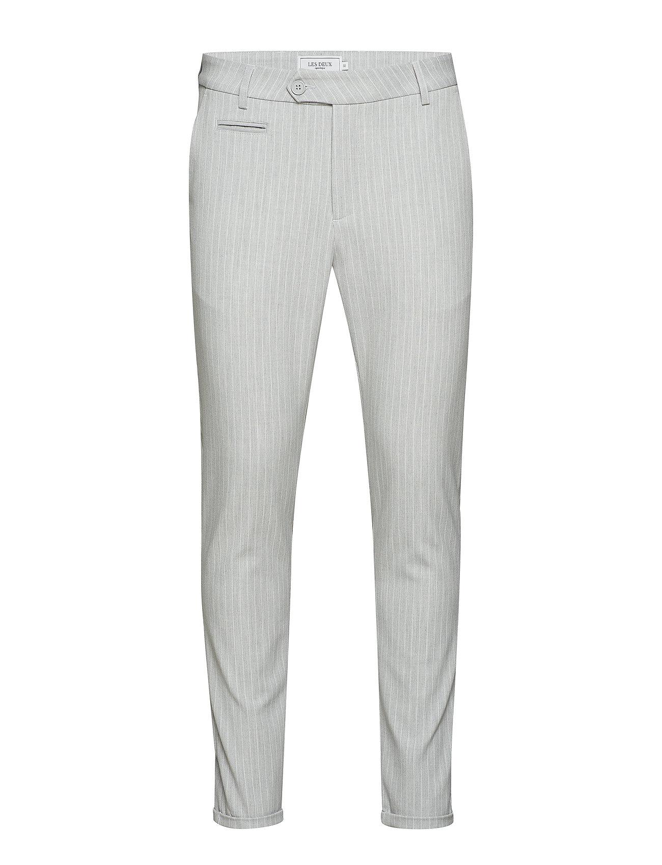 Les Deux Como Pinstripe Suit Pants - GREY MEL./WHITE