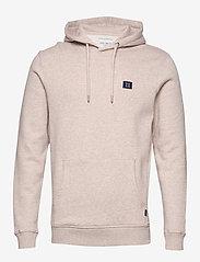 Les Deux - Piece Hoodie - hoodies - light brown melange/navy-lt. blue - 0