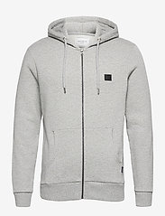 Les Deux - Clinton Zipper Hoodie - light grey melange/black - 0