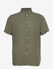 Les Deux - Harvey Tencel Dobby SS Shirt - chemises de lin - lichen green - 0