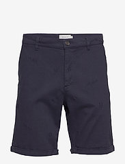 Les Deux - Pascal Embroidery Chino Shorts - chinos shorts - dark navy - 0