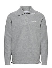 Copparo Fleece Rubgy Sweatshirt - LIGHT GREY MELANGE/OFF WHITE