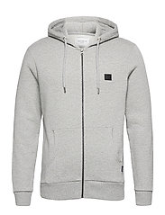Clinton Zipper Hoodie - LIGHT GREY MELANGE/BLACK