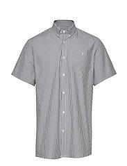 Lyon Seersucker SS Shirt - WHITE/NAVY STRIPE