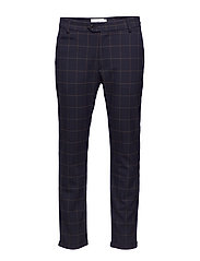 Como Check Suit Pants - 4687-DARK NAVY/BROWN