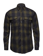 Bryson Wool Check Overshirt - BLACK/GREEN