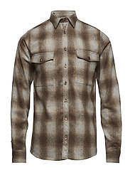 Bryson Wool Check Overshirt - LIGHT BROWN/GREY