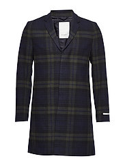 Frielle Tailored Check Coat - GREEN/NAVY