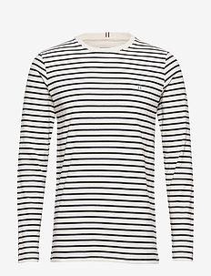 Sailor Stripe LS T-shirt - OFF WHITE+NAVY/SKY BLUE