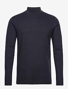 Apollo High Neck LS t-shirt - basic t-shirts - dark navy