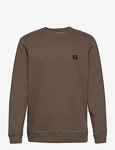 Piece Sweatshirt - tops - brown melange/dark green-light grey