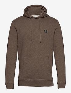 Piece Hoodie - hættetrøjer - brown melange/dark green-light grey