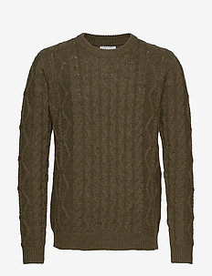 Pigalle Cable Knit - knitted round necks - dark olive green