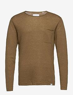 Evan Linen Knit - basic gebreide truien - stone brown