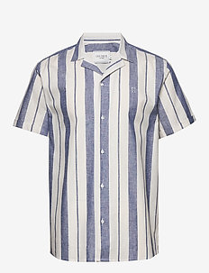 Simon Shirt - OFF WHITE/COBALT BLUE