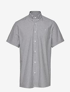 Lyon Seersucker SS Shirt - podstawowe koszulki - white/navy stripe