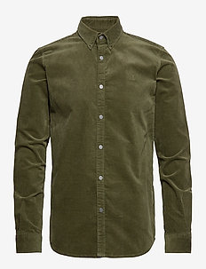 Felix Corduroy Shirt - basic-hemden - 5858-dark olive green