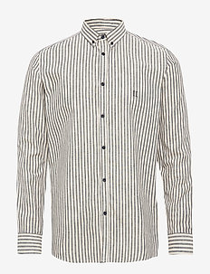 Simon Linen Shirt - DARK NAVY/OFF WHITE