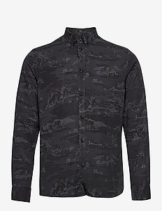 Lou AOP Tencel Shirt - avslappede skjorter - dark navy