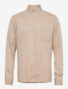 Laurent Tencel Twill Shirt - rutiga skjortor - dark sand