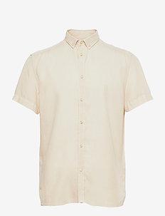 Harvey Tencel Dobby SS Shirt - rutiga skjortor - ivory