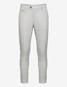 Como Check Suit Pants - kostymbyxor - grey melange/off white