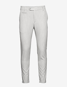 Como LIGHT Pinstripe Suit Pants - GREY MELANGE/OFF WHITE