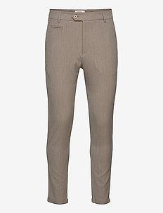 Como Light Herringbone Suit Pants - suit trousers - light brown insence/off white